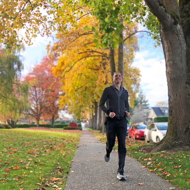David jogging in the fall