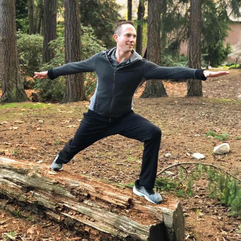 David balancing on a log