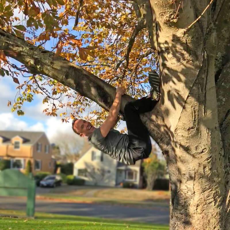 David climbing a tree.