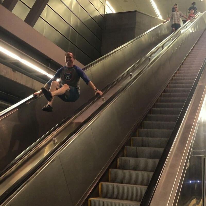 David on escalator