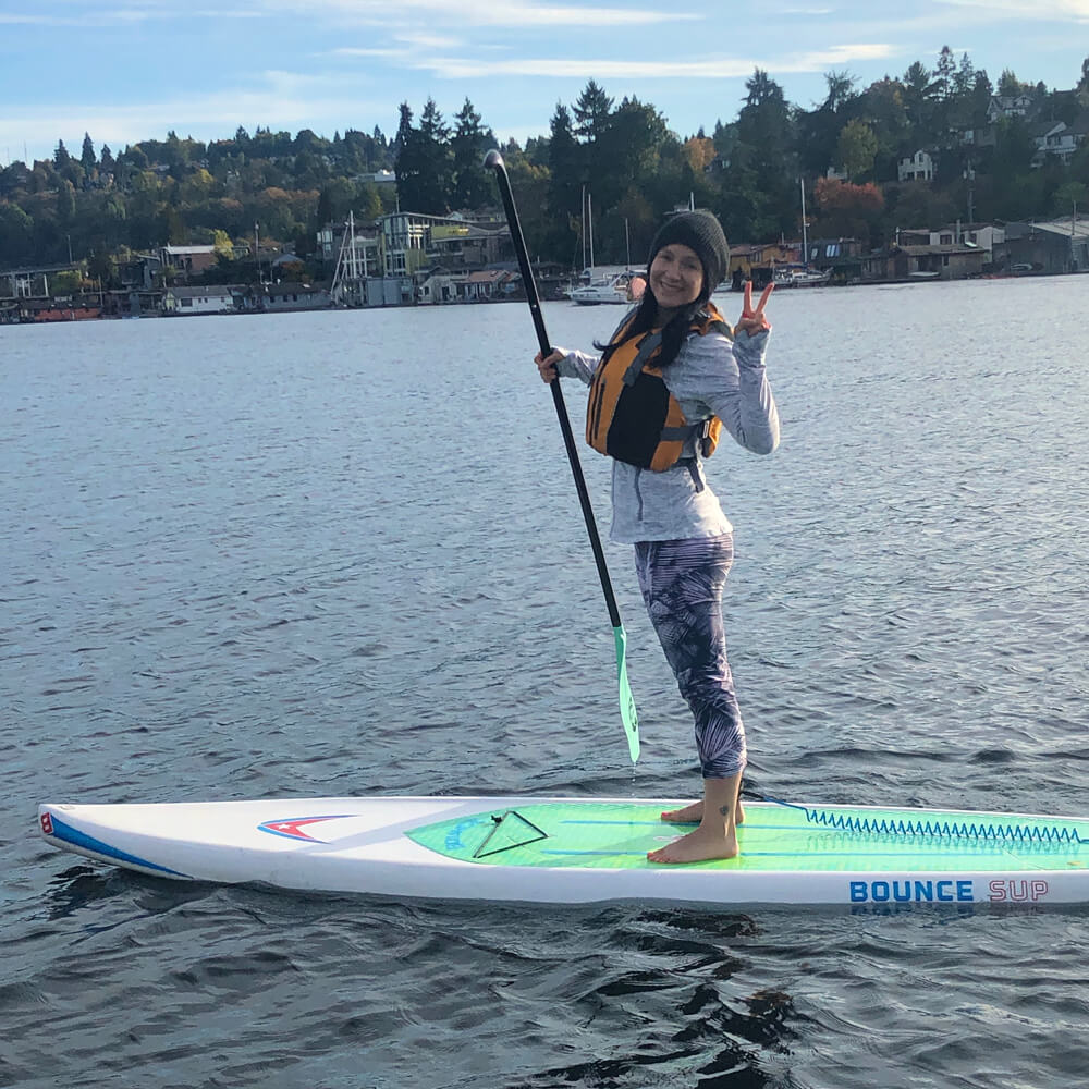 Kelly on stand-up paddle-board