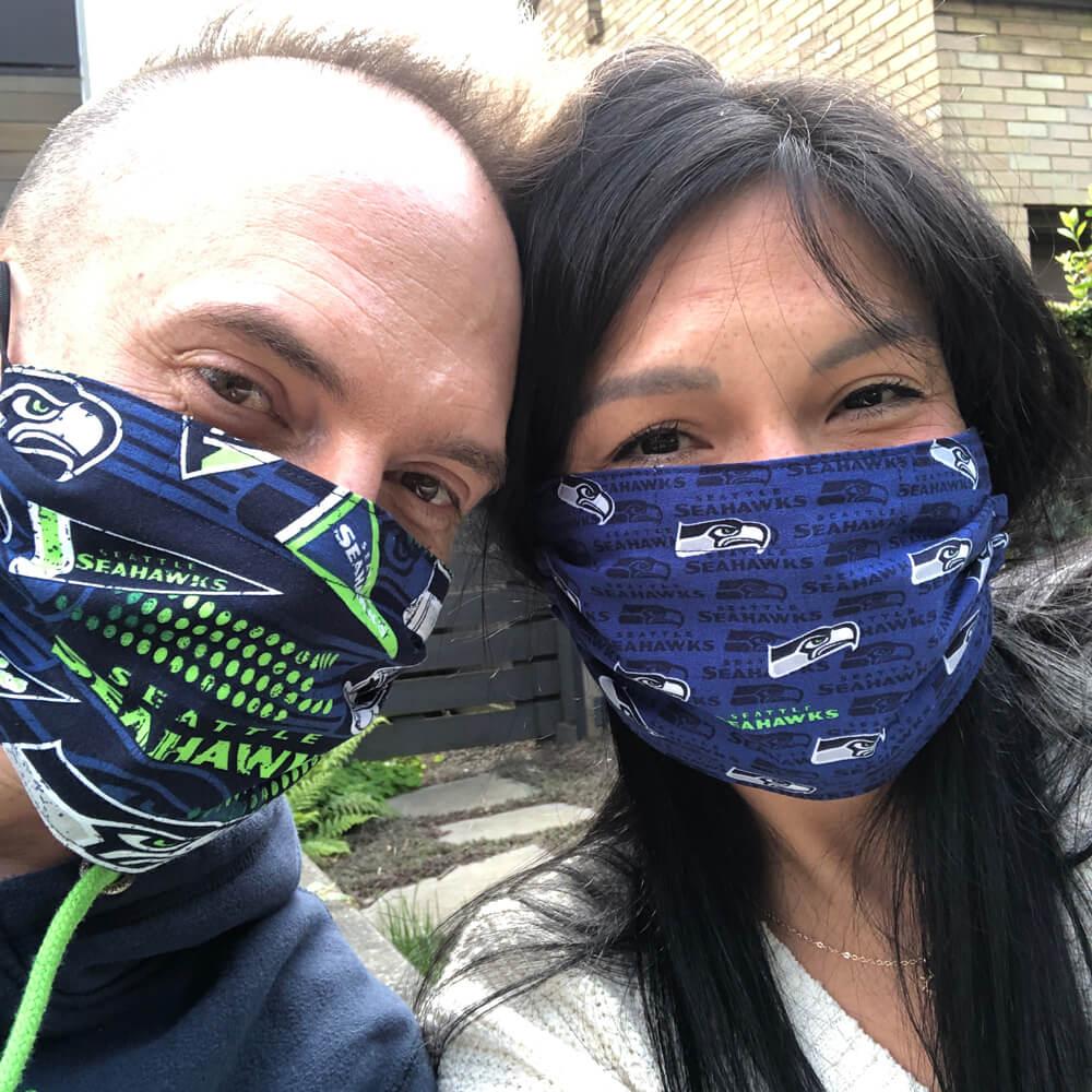 David and Kelly wearing masks