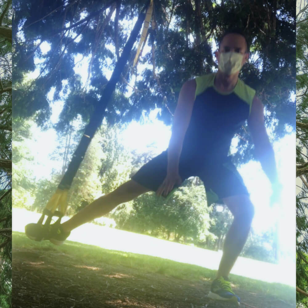 one-legged burpees under dogwood tree