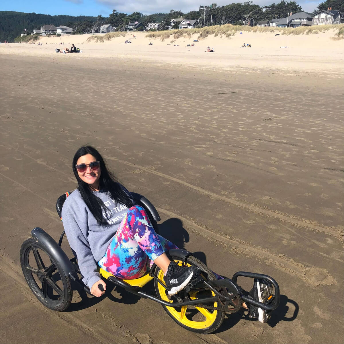 Balancing on a recumbent bike in Cannon Beach, Oregon