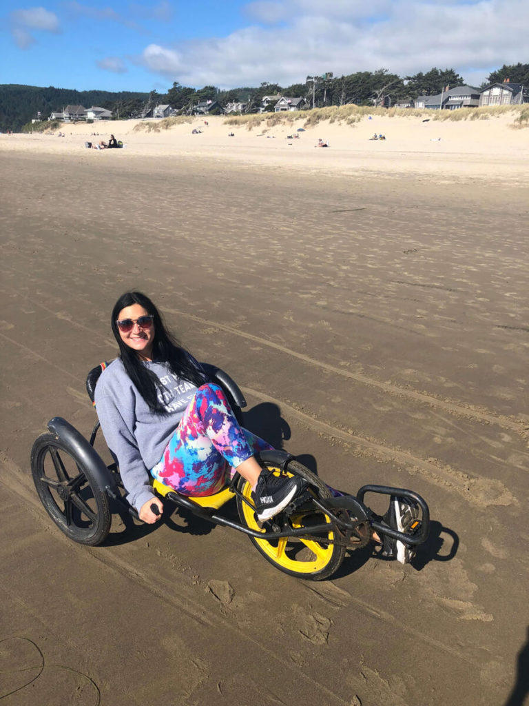 Balancing on a recumbent bicycle in Cannon Beach, Oregon