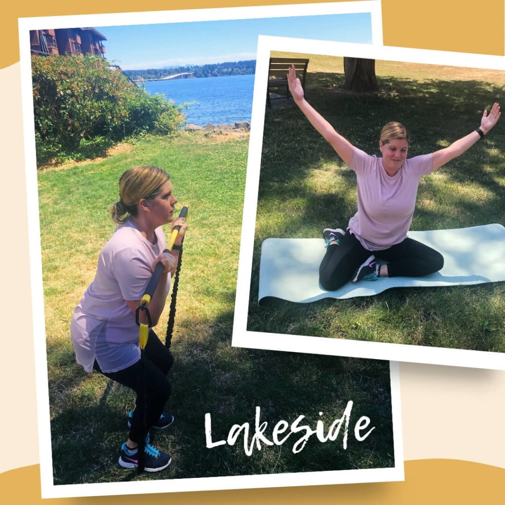 Client enjoying private outdoor yoga in Seattle