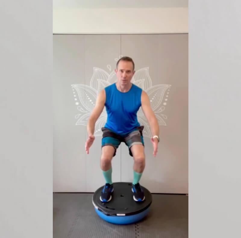David demonstrates how to use a Bosu balance trainer